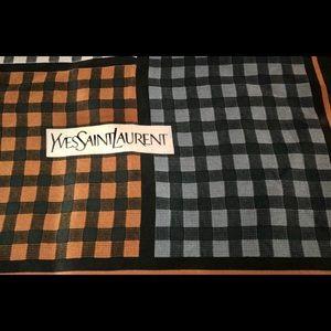 YSL Vintage Square- Block, Orange, Grey Scarf